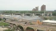 Third Avenue Bridge in Minneapolis Stock Footage