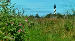 Lighthouse cape hatteras and wild flowers Stock Footage