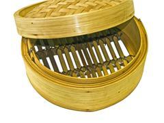 bamboo steam basket - stock photo