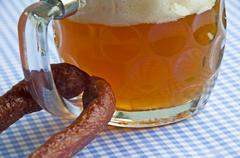 beer with snack - stock photo