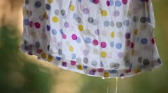Water Drop Fall from Laundry Stock Footage