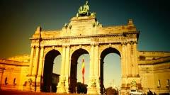 Triumphal arch in the Parc du Cinquantenaire, Brussels, Belgium Stock Footage
