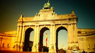 Triumphal arch in the Parc du Cinquantenaire, Brussels, Belgium Stock Footage