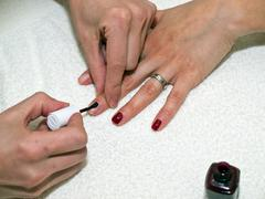 Nails painting on white towel Stock Photos