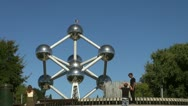 Scenes of Brussels, views of the Atomium structure Stock Footage