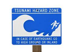 Tsunami warning zone sign Stock Photos