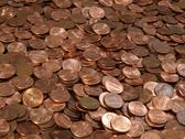 Pile of pennies Stock Photos
