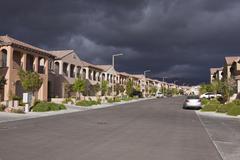 desert suburb storm - stock photo