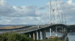 Timelapse of the Forth Road Bridge near Edinburgh, Scotland - stock footage