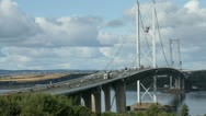 Stock Video Footage of Timelapse of the Forth Road Bridge near Edinburgh, Scotland