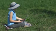 Woman working on laptop on the grass, busy, garden, business, lady, summer Stock Footage