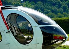 Helicopter on helipad Stock Photos