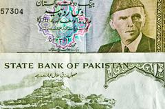 10 and 5 pakistan rupees - stock photo