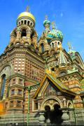christ the savior cathedral in st. petersburg - stock photo