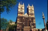 Westminster Abbey exterior front view, London, England, 1976. Stock Footage