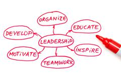 Leadership flow chart red marker Stock Illustration