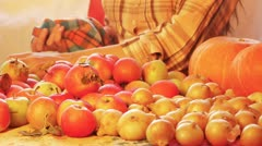 Apples on the table Stock Footage