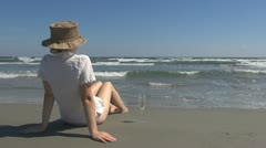 Happy woman drinking white wine beach champagne paradise island fresh enjoy sea Stock Footage