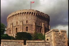 Windsor Castle exterior of round tower, Windsor, England Stock Footage