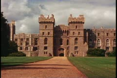Windsor Castle, Windsor, England, wide, long front shot Stock Footage