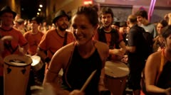 Brazilian style drumers play Stock Footage