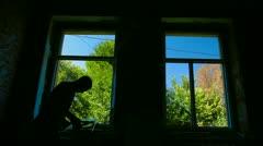 Window Installer at Work Stock Footage