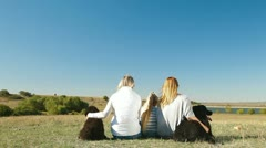 People with Newfoundland Dogs Stock Footage