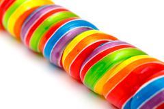 rainbow twirl lollipop candies - stock photo