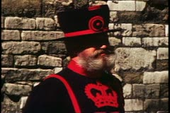 Beefeater, Yeoman Warder, Tower of London, London, England Stock Footage