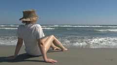 Stock Video Footage of Young woman watching the sea meditative romantic female leisure seascape fresh