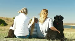 People with Dogs Resting Stock Footage