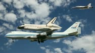 Space Shuttle Endeavour on its final flight to California Stock Footage