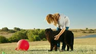 Woman With Newfoundland Dog Outdoor Stock Footage