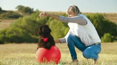 Woman Playing With Puppy Newfoundland Outdoor Stock Footage
