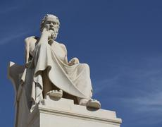 Statue of Socrates with copy space - stock photo
