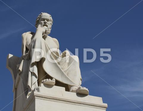Stock photo of Statue of Socrates with copy space