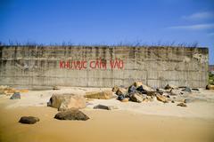coastline and beautiful beach of Vietnam. - stock photo