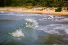 Wave on the coastline and beautiful beach of Vietnam. Stock Photos