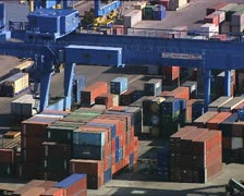 CONTAINERS in a harbor overhead close shot 2 Stock Footage