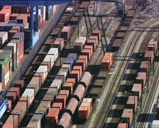 CONTAINERS in a harbor overhead close shot Stock Footage