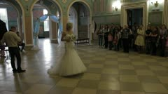 Defile the bride in a wedding dress Stock Footage