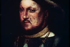 Painting of King Henry VIII, English monarch, English history Stock Footage