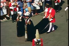 Windsor Castle, Order of the Garter, Queen Elizabeth II and Prince Phillip Stock Footage