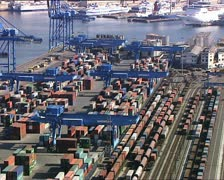CONTAINERS in a harbor overhead view Stock Footage