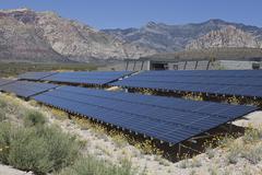 Red desert solar Stock Photos
