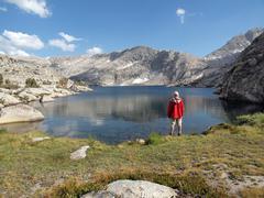 high sierra lake hiker - stock photo