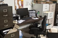 untidy office - stock photo