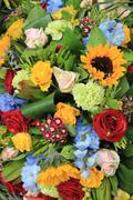 mixed bouquet in bright colors - stock photo