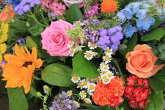 Mixed floral arrangement in bright colors Stock Photos