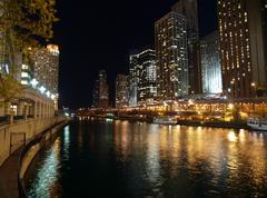 Chicago river night Stock Photos